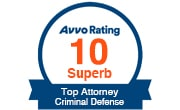 Avvo Rating 10 Superb - Criminal Defense